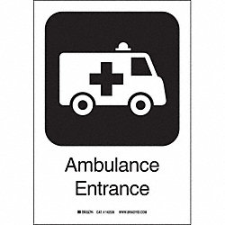 Ambulance Ent Sign, 10 x 7 In, SS