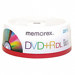 DVD+R Dual Disc, 8.50 GB, 240 min, 8x, PK 25