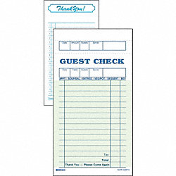 Guest Check Board, 1 Part, Green, PK 50
