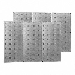 Pegboard Set, Steel, 32x96 In., Metallic