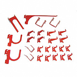 Slotted Tool Board Hook Kit, 26 Piece, Red