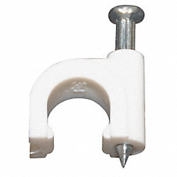 Clip, For RG-59 Coax Cable, White, Pk 100