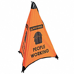 Floor Cone Sign, People Working