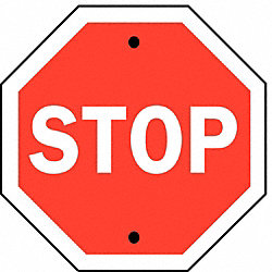 Stop Sign, 30 x 30In, WHT/R, Fiberglass