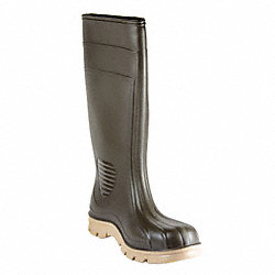Boots, Plain Toe, PVC, 15 In, Brown, 11, PR