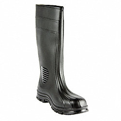 Boots, Plain Toe, PVC, 15 In, Black, 8, PR