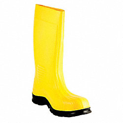 Boots, Plain Toe, PVC, 15 In, Yellow, 8, PR