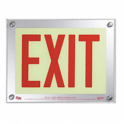 Exit Sign, 9-1/2 x 12-5/16In, R/WHT, Exit