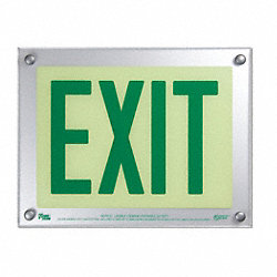 Exit Sign, 9-1/2 x 12-5/16In, GRN/WHT, Exit