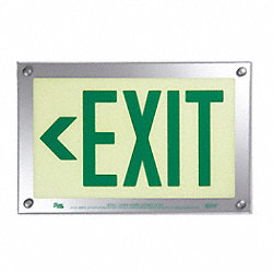 Exit Sign, 9-1/2 x 14-3/8In, GRN/WHT, Exit