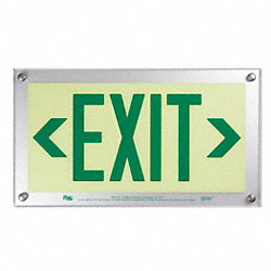 Exit Sign, 9-1/2 x 17In, GRN/WHT, Exit, ENG