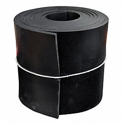 Rubber, SBR, 3/8 Th x 6 In W, 50 Ft, Black