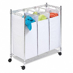 Rolling Laundry Sorter, 3-Compartment