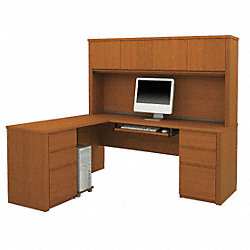 L-Shaped Workstation, Cognac Cherry