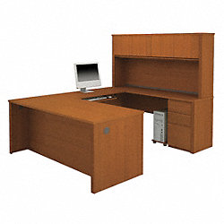 U-Shaped Workstation, Cognac Cherry
