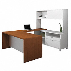 U-Shaped Workstation, White/Cognac Cherry