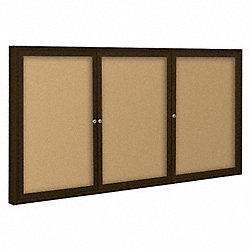Enclosed Bulletin Board, Coffee, 3 Door