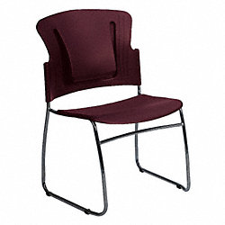 Stack Chair, Plastic/Steel, Burgundy, PK 4