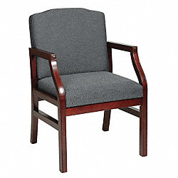 Guest Chair, Gray, Mahogany