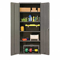 Storage Cabinet, 84x36x18, 4 Shelves, Gray
