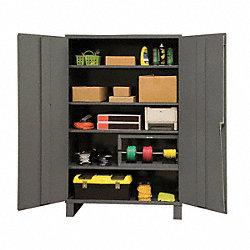 Storage Cabinet, 84x60x24, 4 Shelves, Gray