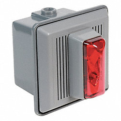 Horn Strobe, Red, 5-1/2 In. H, 120VAC