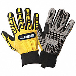Anti-Vibration Gloves, 2XL, Black/Ylw, PR