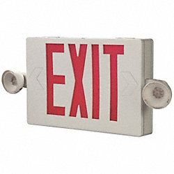 Exit Sign w/Emergency Lights, 1.7W, Red