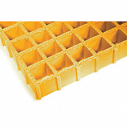 Fiberglass Grating, 96 x 48 In, Yellow