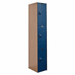 Assembled Locker, 3 Tier, 12x18, Taupe/Blue