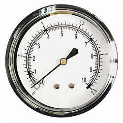 Pressure Gauge, 2 1/2 In, 0 to 5 Psi