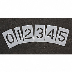 Pavement Stencil, 6 in, Number Kit, 1/16