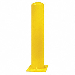 Bollard, Base Plate, Dome, 36 In H, Yellow