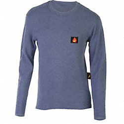 Long Slv Crewneck Shirt, FR, Royal Blue, 4X