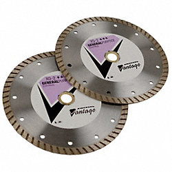Diamond Saw Blade, Dry, Turbo Rim, 9 In Dia