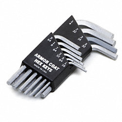 Hex Key Set, 1/16 - 1/4 In, L-Shaped, Short