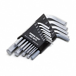 Hex Key Set, 0.050-3/8 In., L-Shaped, Short