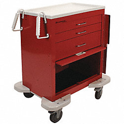 Emergency Cart, 25x32x39, Red, 3 Drawer