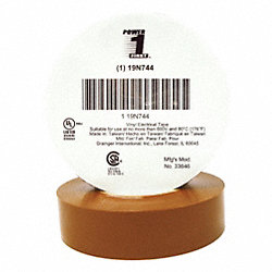 Electrical Tape, 3/4 x 66 ft., 7 mil, Brown