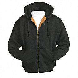 Hooded Sweatshirt, Black, Cotton/PET, 2XL