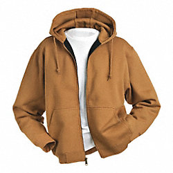 Hooded Sweatshirt, Saddle, Cotton/PET, 2XL