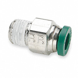 Male Connector, NP Brass, 3/8 In, PK 10