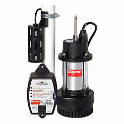 Sump Pump, 1/3 HP, 1-1/2 In, 20 Ft Cord, CI