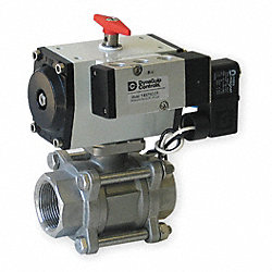 Ball Valve, 1/2 In NPT, Double Acting, SS