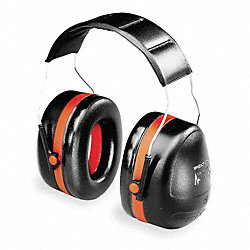 Ear Muff, 30dB, Over-the-Head, Black/Orange