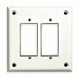 Security Wall Plate, 2 Gang, White, ABS