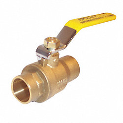 Ball Valve, 2 PC, 1/2 In Solder, Brass