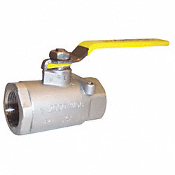Ball Valve, 2 PC, 1/4 In NPT, SS, 2000 PSI
