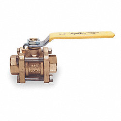 Ball Valve, 3 PC, 4 In NPT, Bronze