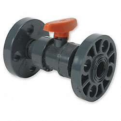 Ball Valve, 1/2 In Flanged, PVC, Full Port